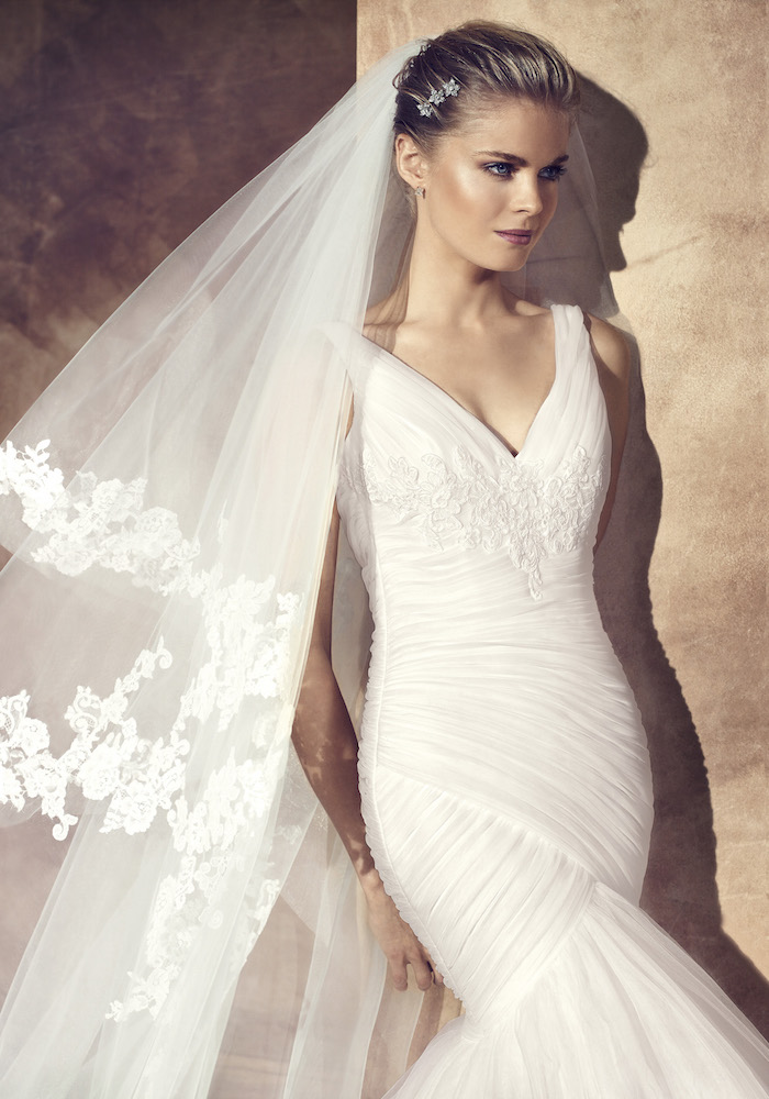 avenue diagonal beautiful wedding dress with draped