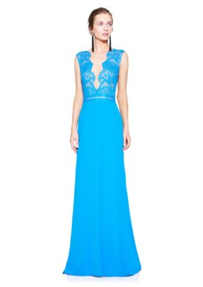 Designer evening dress - v neck cocktail dress in blue-01