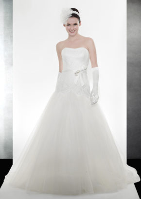 LM A-line wedding dress with draped detail 1