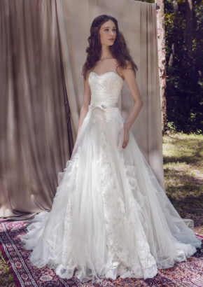 LM By Lusan Mandongus Sweetheart A Line Wedding Dress features ruffle skirt in tulle 1