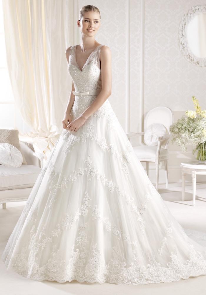 La Sposa | Embroidered V-Neck Wedding Dress | LMR Weddings