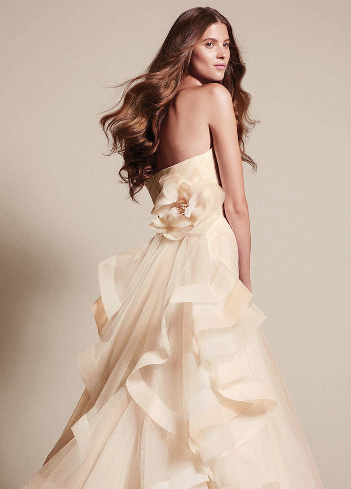 White By Vera Wang | Elegant Nude Wedding Dress with Ruffle Detail ...