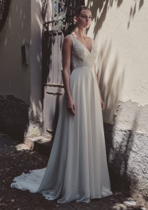 lm by lusan mandongus - hong kong - embellished V neck chiffon wedding dress-01