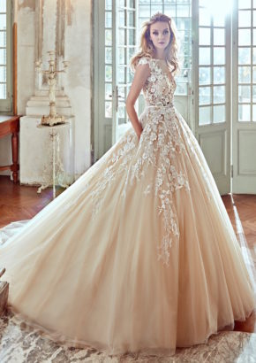 nicole-spose-2017-illusion neckline princess ball gown in nude with lace applique 01