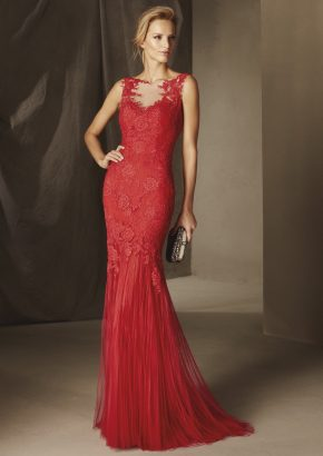 pronovias-BIRMANIA-lace-embroidered-mermaid-red-tulle-evening-dress_01