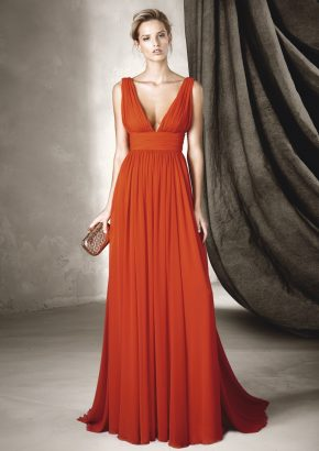 pronovias-CISNE-minimalist-goddess-style-red-chiffon-gown_01