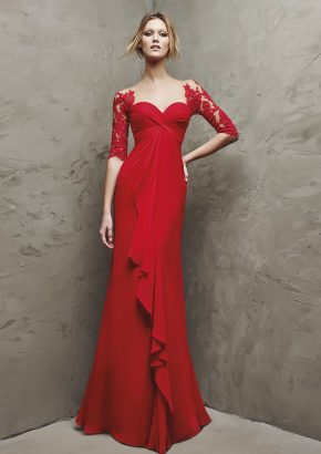 pronovias-LANDETA-mid-sleeves-red-chiffon-evening-dress_01