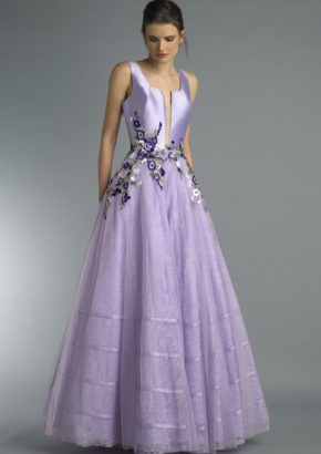 ready to wear - floral embroidered purple flared gown-01