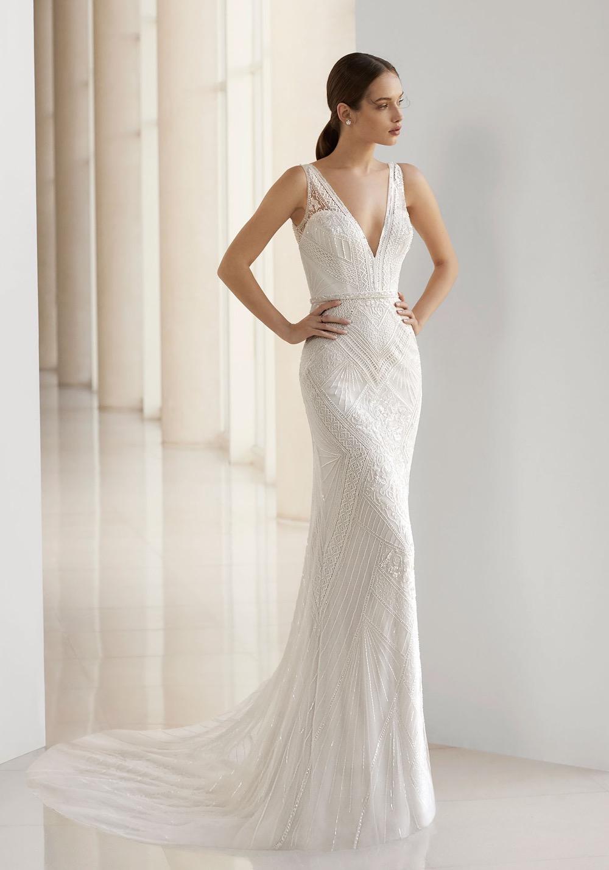 46159e5265a9 Rosa Clara Soft. Beaded Wedding Dress with Keyhole Back. V-neck mermaid ...