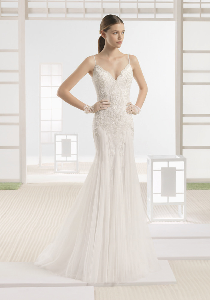 1466983b12ff Rosa Clara Soft. Embellished Mermaid Tulle Gown. V-neck mermaid wedding ...