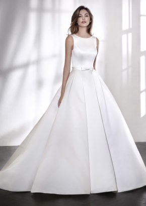 san patrick 2018 - boat neck satin princess wedding dress with sheer back-01