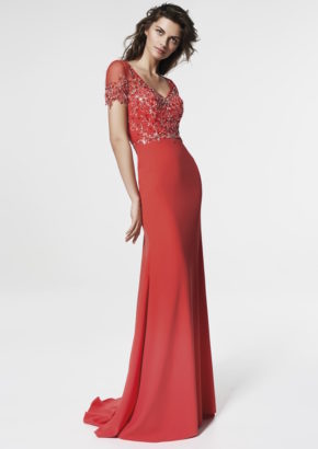 san patrick 2018 - embellished v neck evening gown in crepe-01