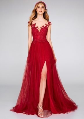 san-patrick-2019-8385-embroidered-flared-red-evening-dress-high-slit-01
