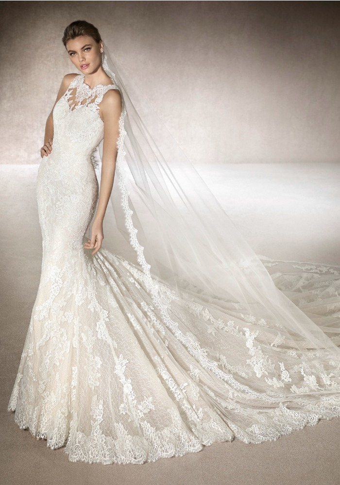 San Patrick Rebrodé Lace Wedding Dress With Long Train Lmr Weddings