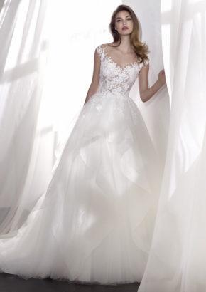st patrick 2018 - embellished V-neck princess wedding dress with ruffle details-01