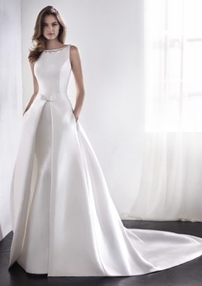 st patrick 2018 - embellished boat neck mikado satin mermaid wedding dress with overskirt-01