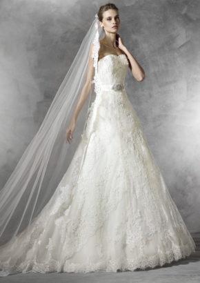 pronovias - embroidered strapless A line wedding dress-01