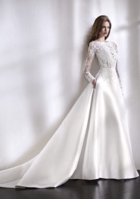 st patrick 2018 - embellished elegant long sleeves wedding dress in mikado-01